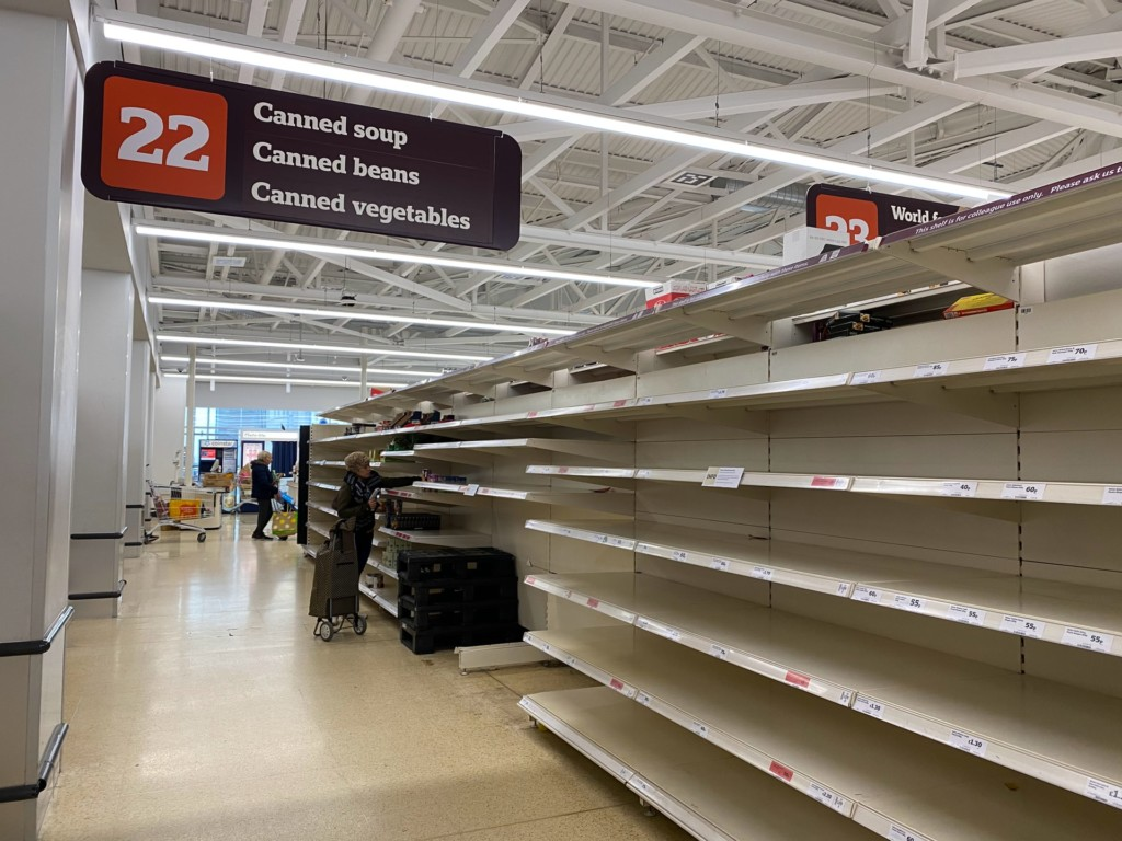 empty shelves grocery store
